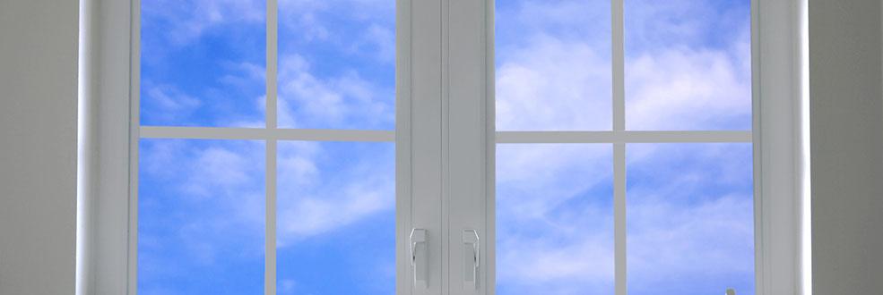 window with blue sky